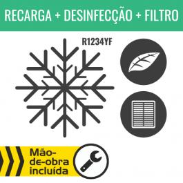 RECARGA DE AR CONDICIONADO R1234YF + DESINFECÇÃO DO HABITÁCULO + FILTRO DE HABITÁCULO