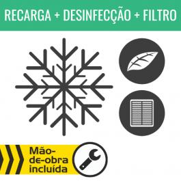 RECARGA DE AR CONDICIONADO R134A + DESINFECÇÃO DO HABITÁCULO + FILTRO DE HABITÁCULO